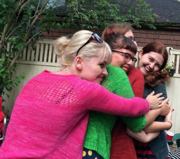 And we posed with our groups, like this Army of Grace (Madelinetosh Shop Stalkers wearing Jane Richmond's Grace cardi).