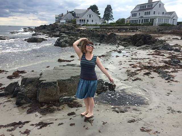 Enjoying my new Custom Fit sweater on the beach in Maine. #happysweaterface