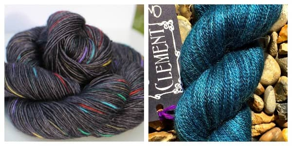 From left to right: Nurturing Fibres Merino Lace Singles in the Liquorice Allsorts colorway and Sweet Clement Yarns Cherish in Teal.