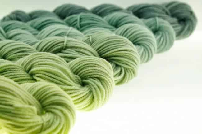 Green gradient from June Pryce Fiber Arts
