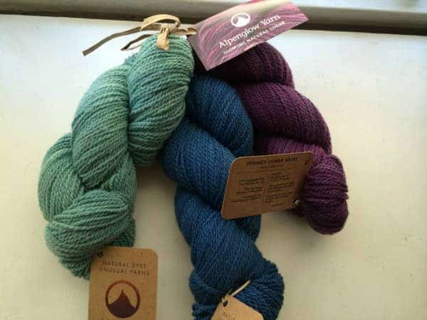 Yarn from Alpenglow Yarn.