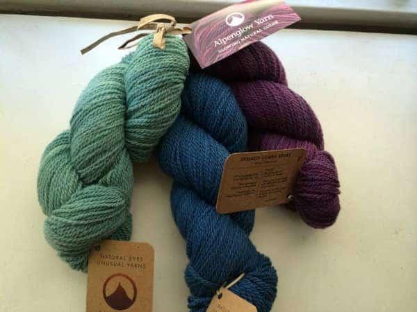 Yarn from Alpenglow Yarn.