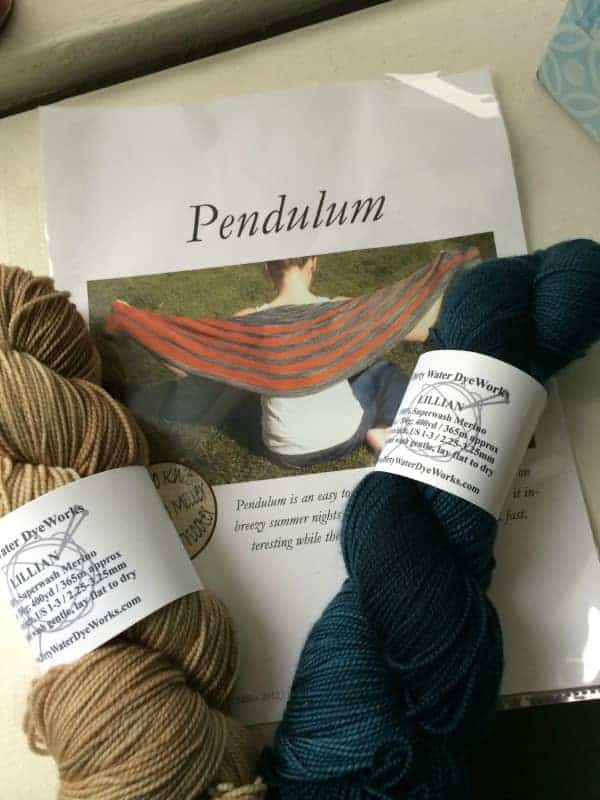 A Pendulum shawl kit from Dirty Water DyeWorks.