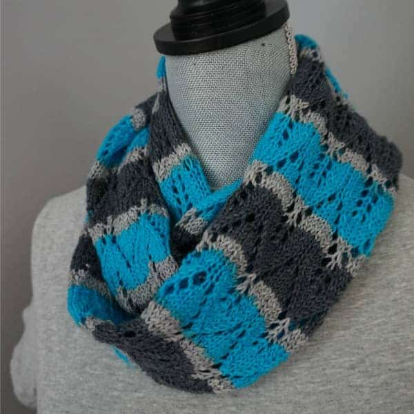 The cowl in the Indie blue colorway, which is exclusive to the kit.