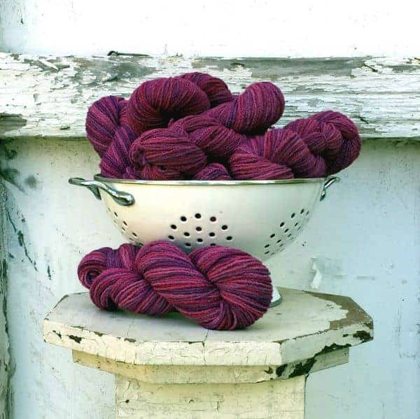 Feel Good Yarn Company's Razzleberry colorway, dyed by Alice O'Reilly of Backyard Fiberworks.