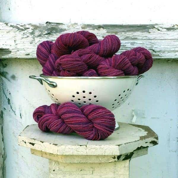 Feel Good Yarn Company's Razzleberry colorway, dyed by Alice O'Reilly of Backyard Fiberworks.