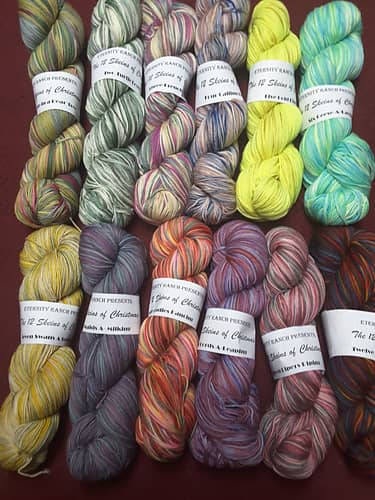 The 12 Skeins of Christmas from Eternity Ranch Knits