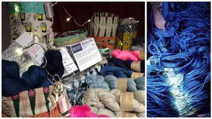 Kettle Yarn Co. goodies on the table at the Pom Pom Quarterly Christmas party. / Limited edition Shibori-dyed Islington.