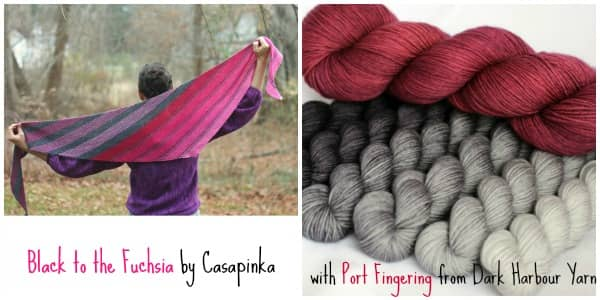 Black to the Fuchsia by Casapinka with Port Fingering from Dark Harbour Yarn