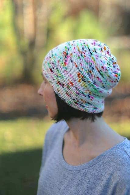 Catrina/CatReading's Fluid Slouchy Beanie in Spun Right Round Squish DK Shock Star