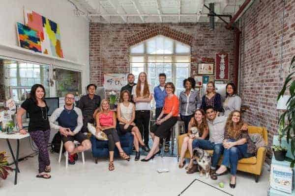 The Creativebug team. Left to right: Chelsea Sena, Devlin Mannle, Fernando Santacruz, Jeanne Lewis, Kelly Wilkinson, Matt Novak, Erik Wilson, Ken Bousquet, Ursula Morgan, Stephanie Blake, Courtney Cerruti, Brian Emerick, Julie Roehm, Su Li, Liana Allday.