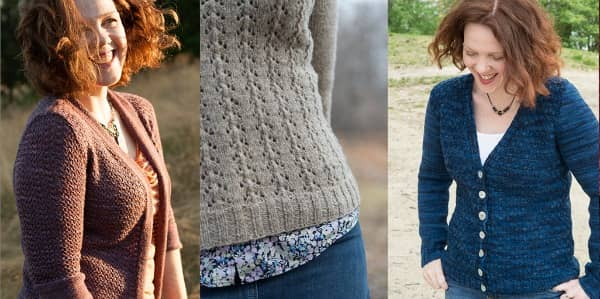 Caulfield uses a small eyelet-and-slipped stitch tiling pattern to blend colors; Foyle's Pullover turns lace into texture; Cushing Isle breaks up big color switches with twisted stitches.