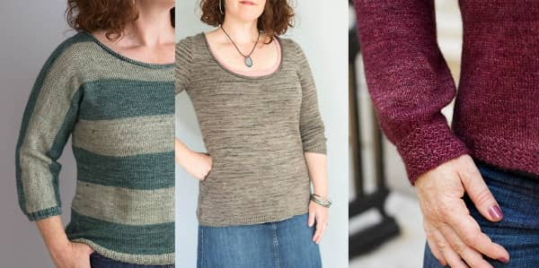 Small Point, Bourrasque, and Beacon Hill all use Stockinette to highlight gorgeous yarns. Photo credit for Beacon Hill to Caro Sheridan of Splityarn.