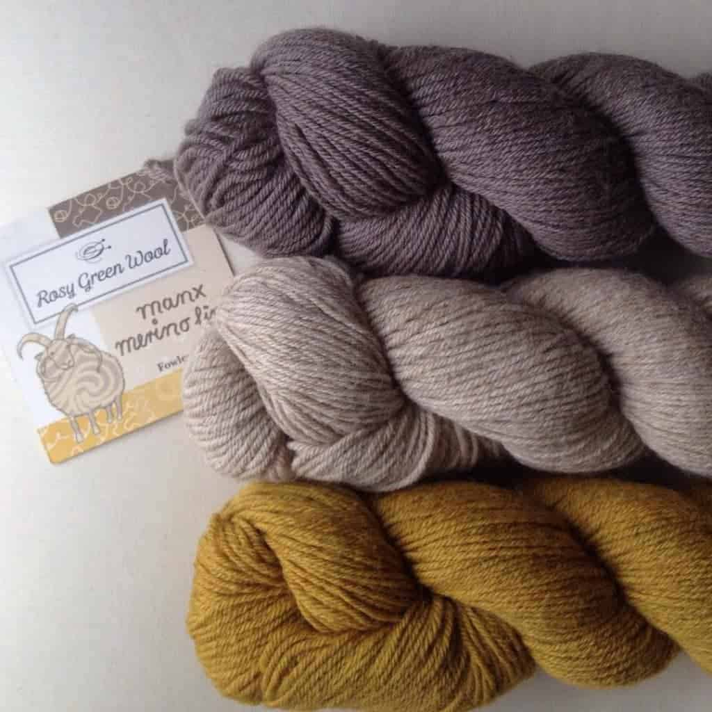 Yarn: Manx, a fingering-weight blend of organic Merino and Manx Loaghtan wool (Manx Loaghtan is an endangered sheep breed that is originally from the Isle of Man)