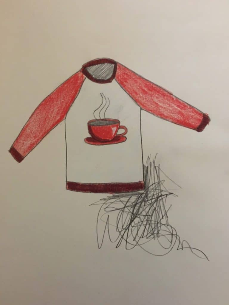 "Original ""Jumbo Coffee Sweater"" sketch."