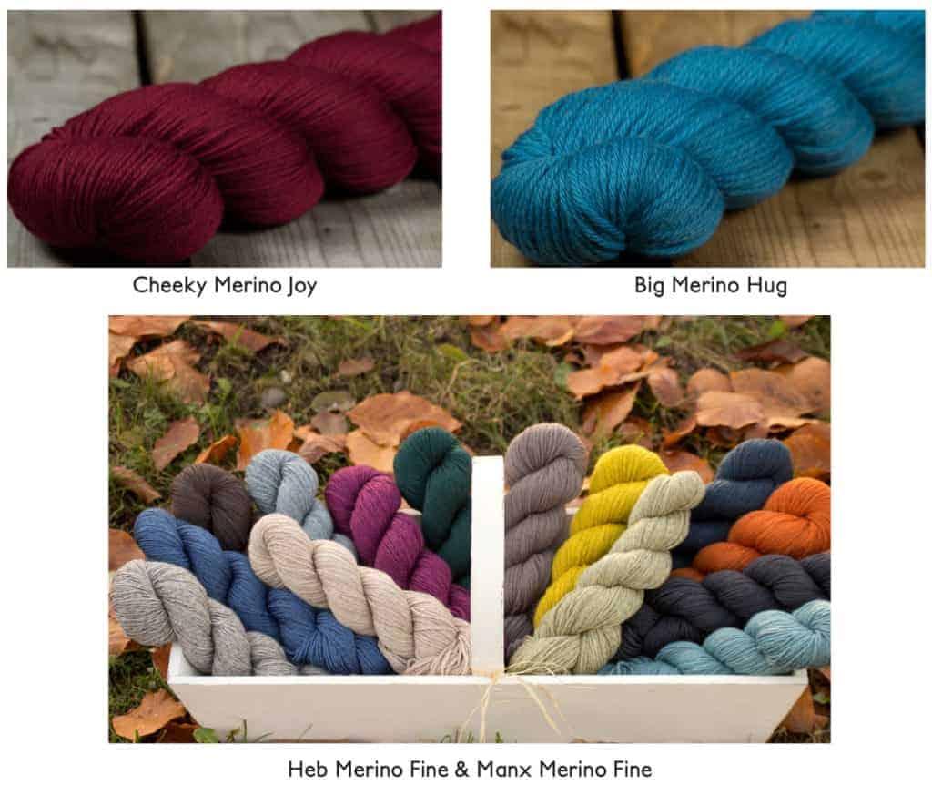 Rosy Green Wool Cheeky Merino Joy, Big Merino Hug, Heb Merino Fine, and Manx Merino Fine.