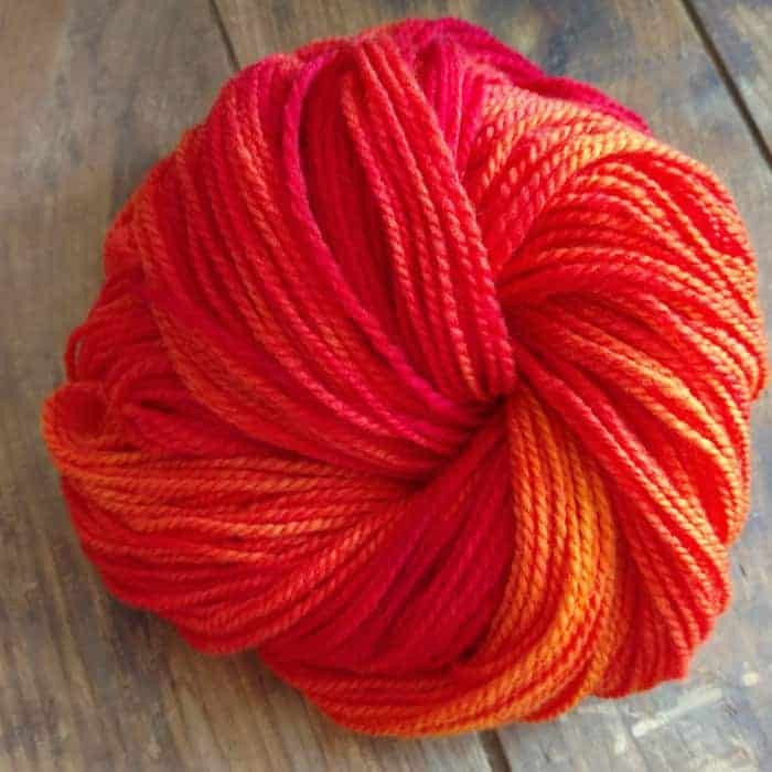 A hank of bright orange yarn.