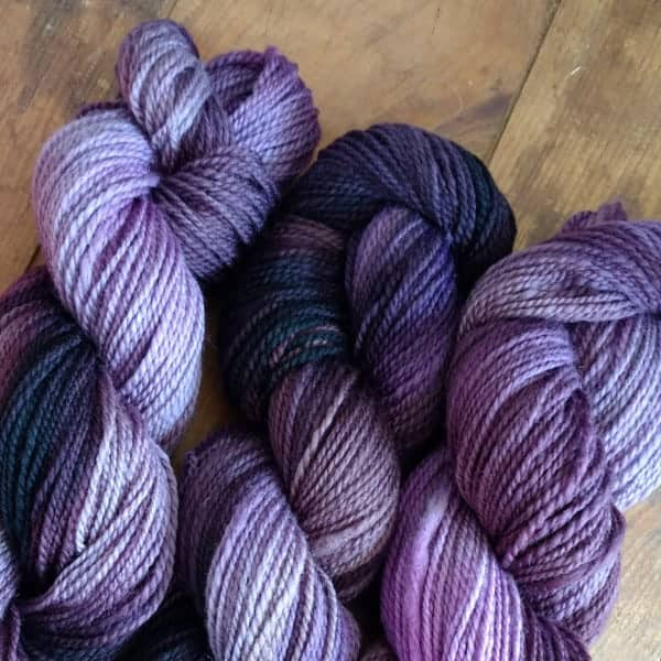 Purple hand-dyed yarn.