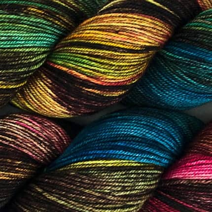 Black, blue, yellow, pink and green yarn