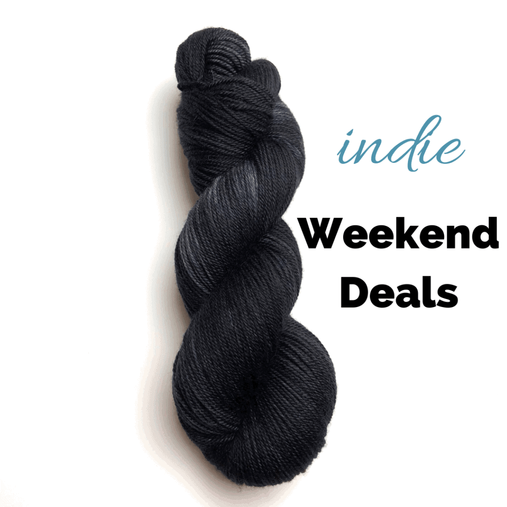 A skein of black yarn and the words indie Weekend Deals.