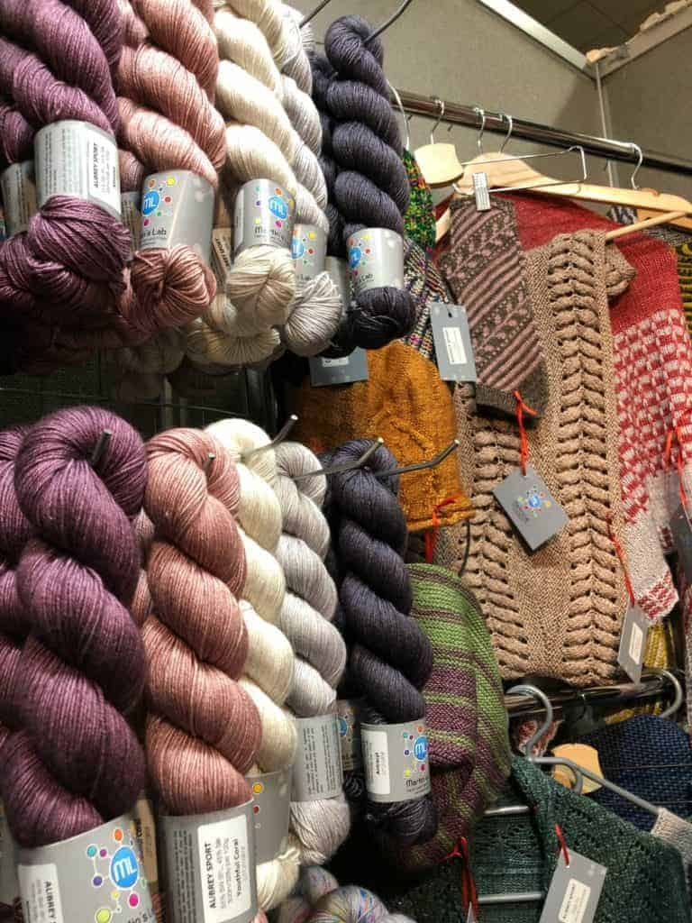 A display of yarn and patterns.