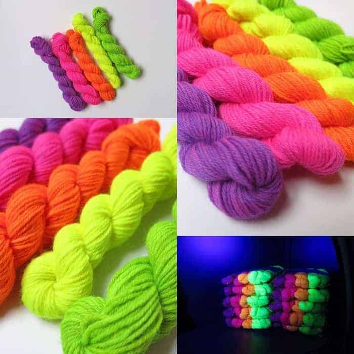 Photos of UV reactive yarns in bright colors.