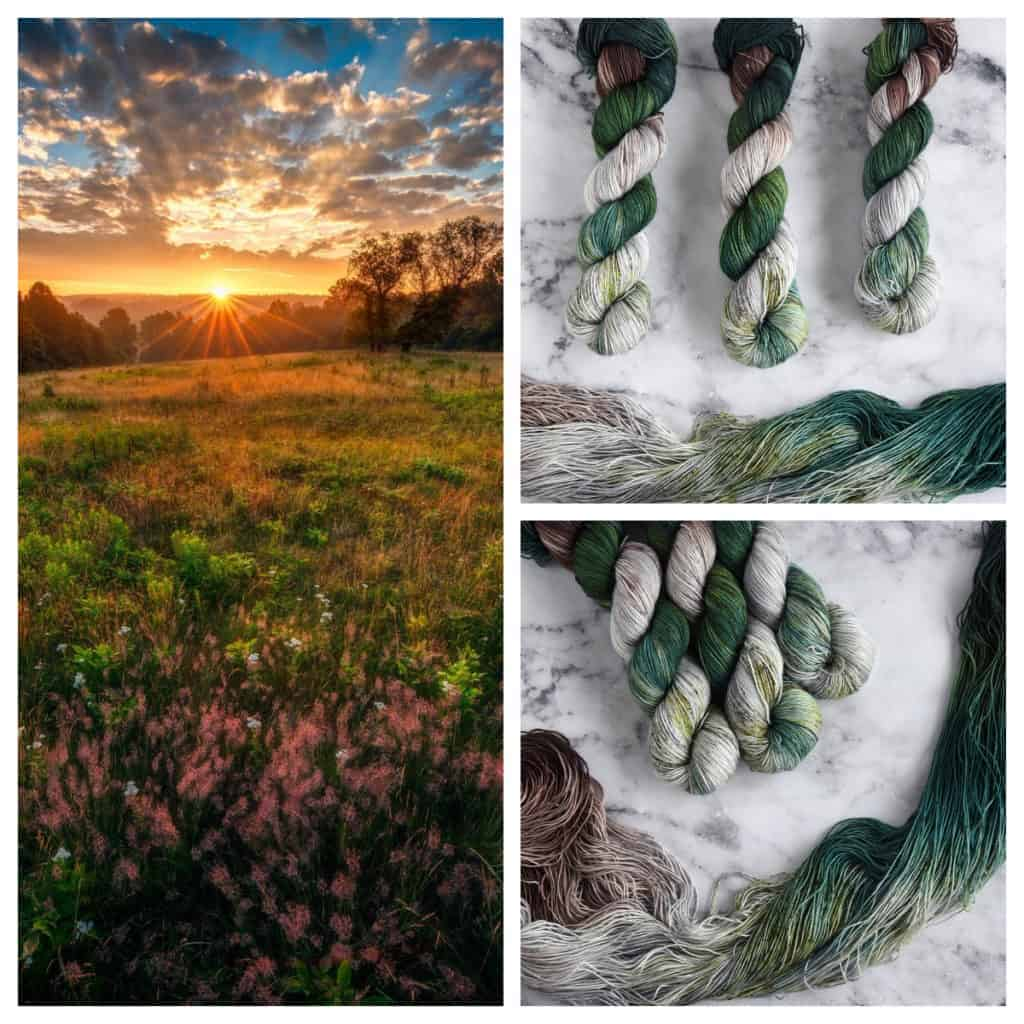 A photo collage of a field of wildflowers at sunset, along with green, brown and gray yarn.