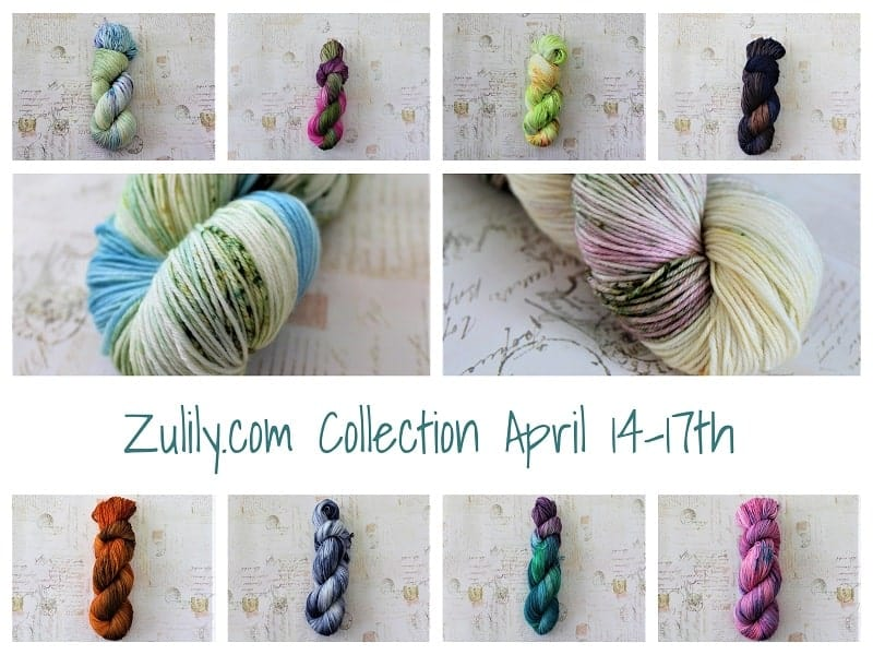 A collage of yarn photos with Zullilly.com Collection April 14-17th.