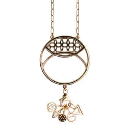 A circular bronze necklace with dangling charms.