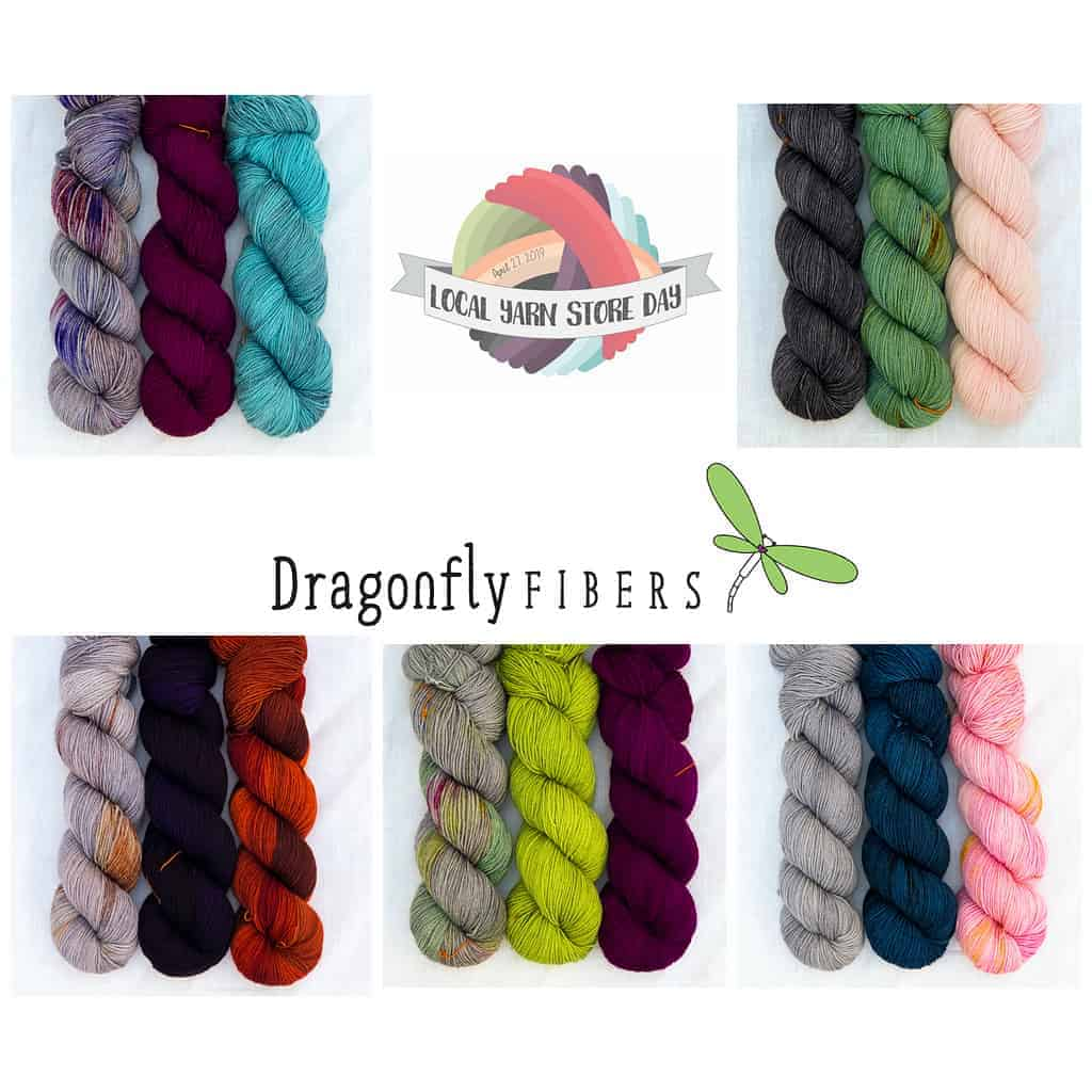 A collage of yarn trios from Dragonfly Fibers