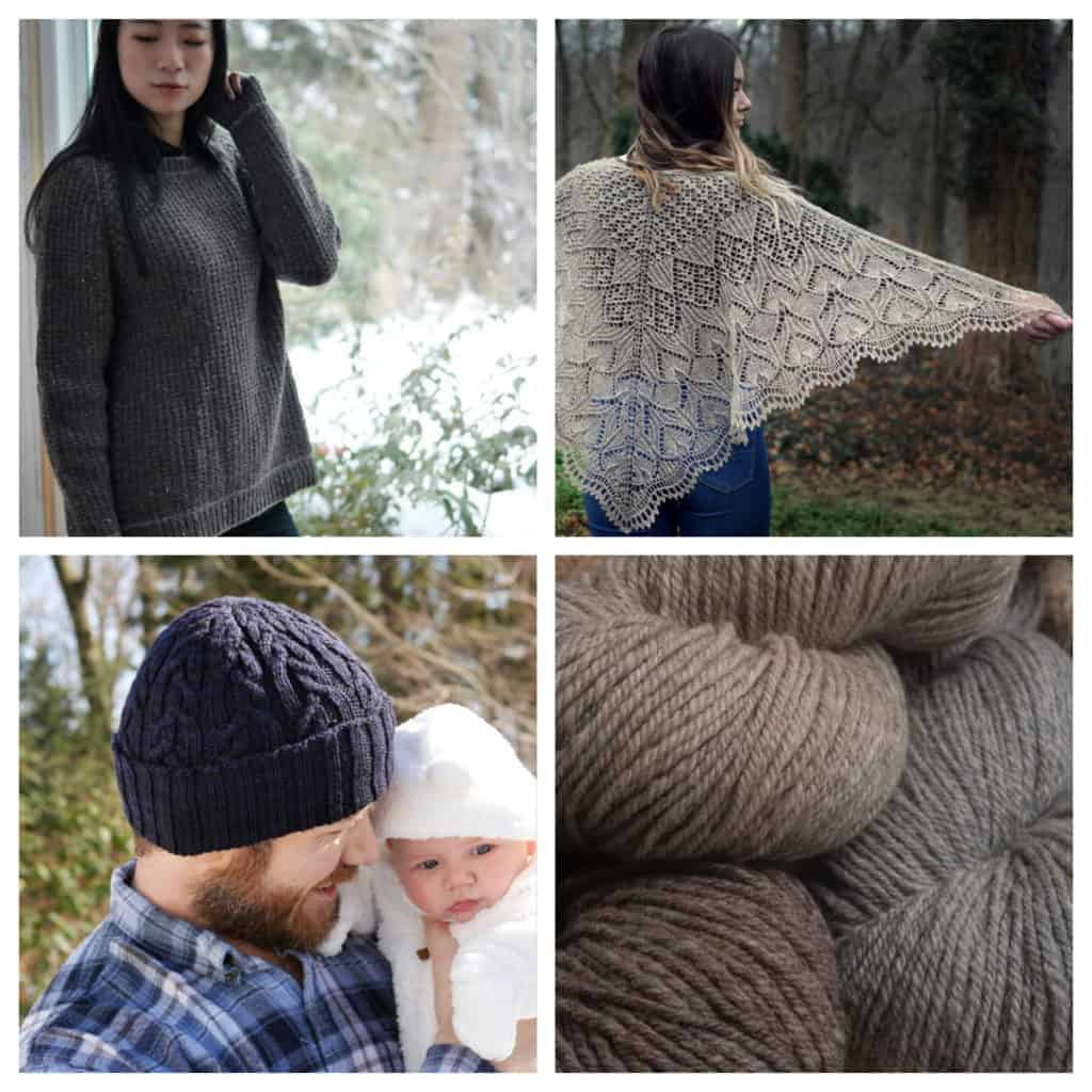 A sweater, shawl, hat and yarn