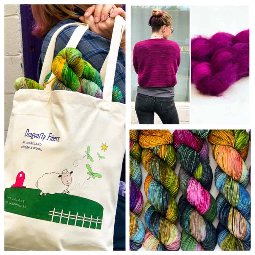 A collage of yarn and a tote bag