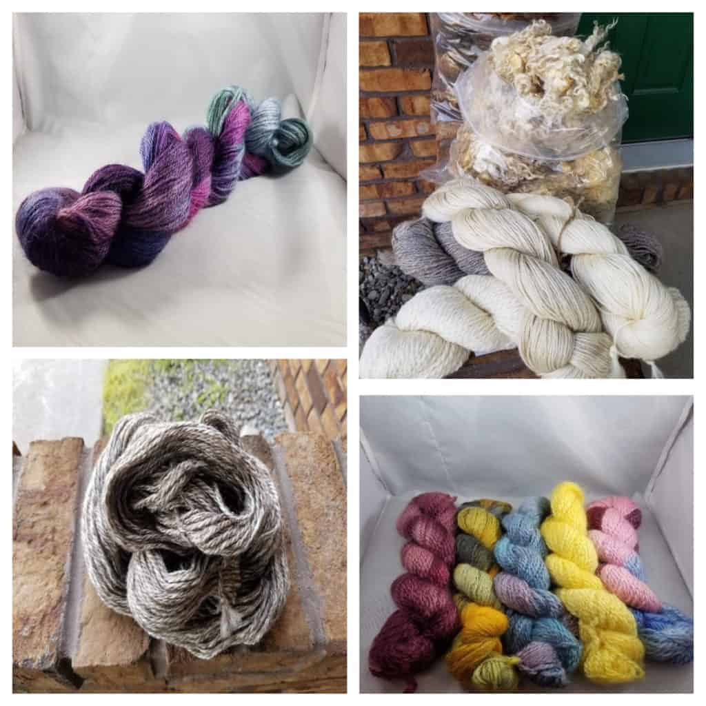 A collage of yarn