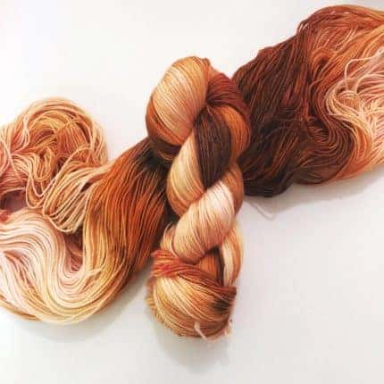 Rust colored yarn.