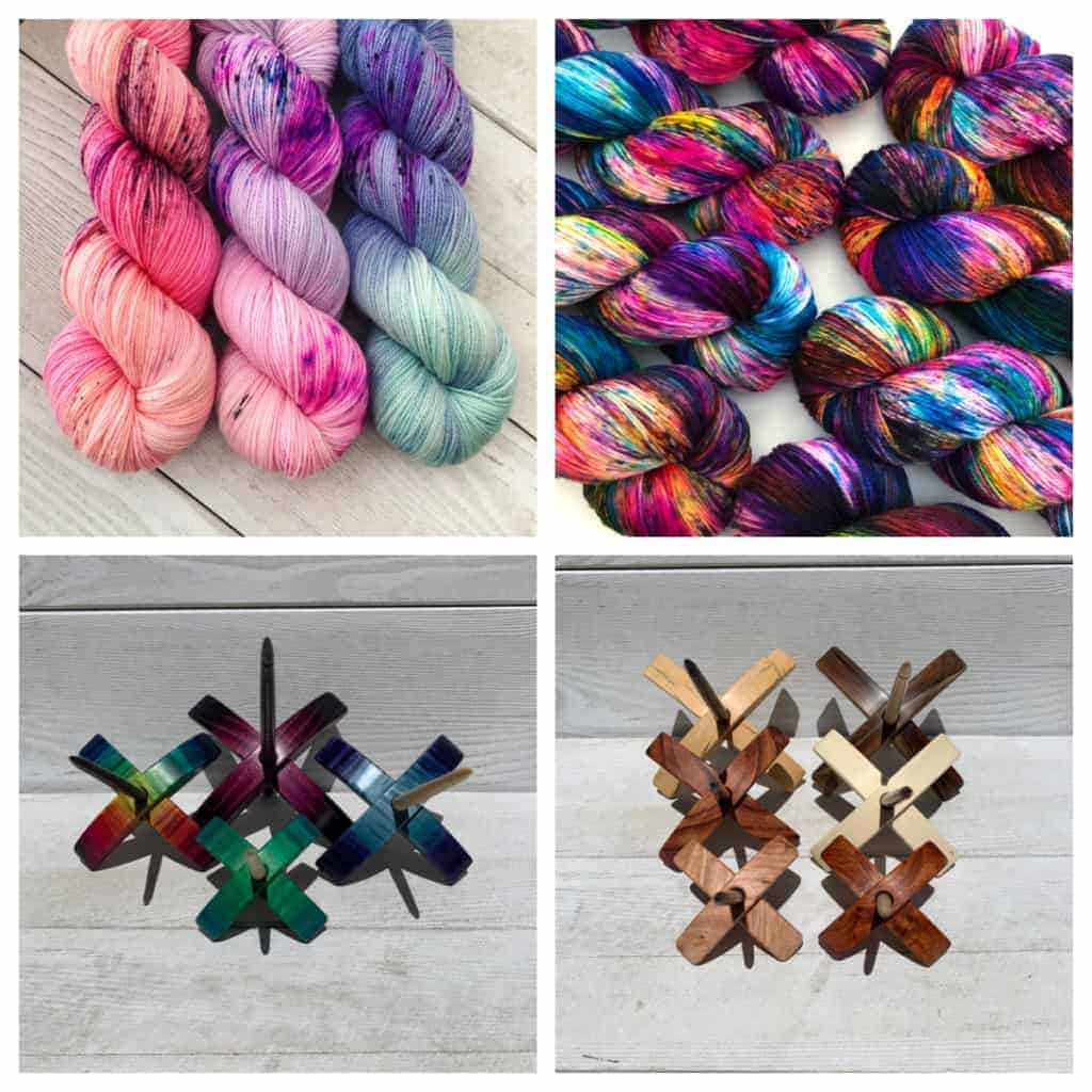 A collage of yarn and wood spindles