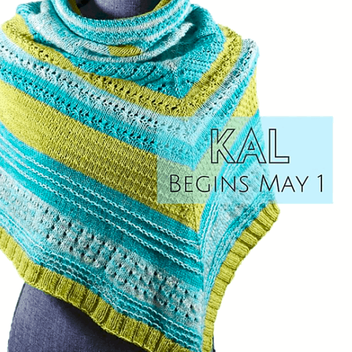A blue and green pullover shawl
