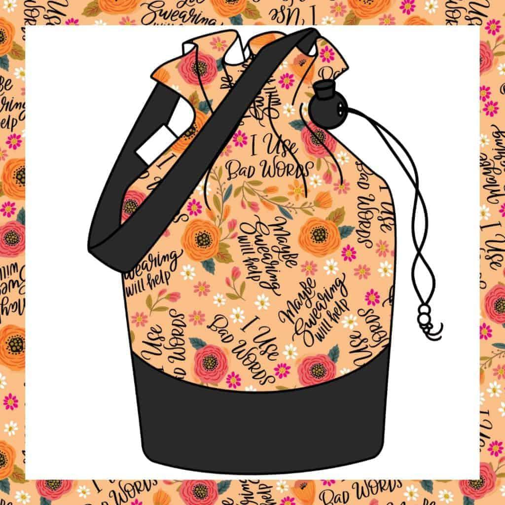 An orange floral bag with I love bad words.