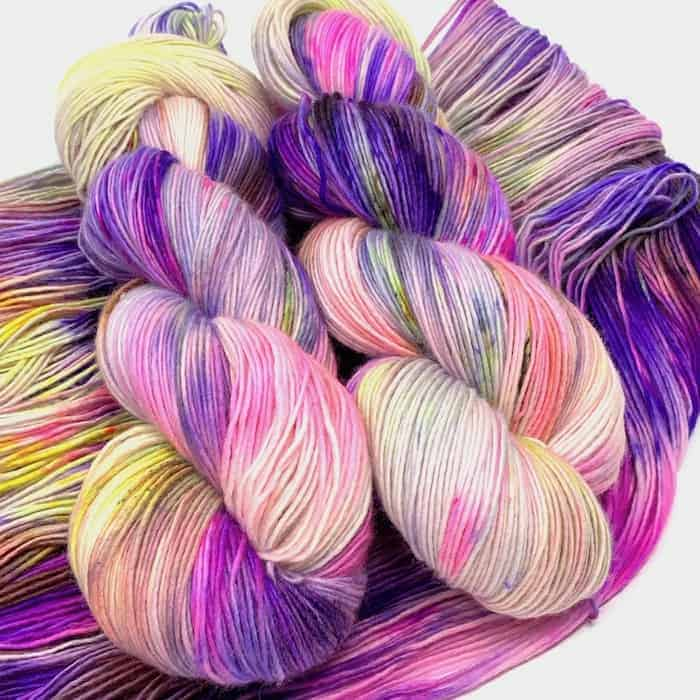 Purple and pink variegated yarn