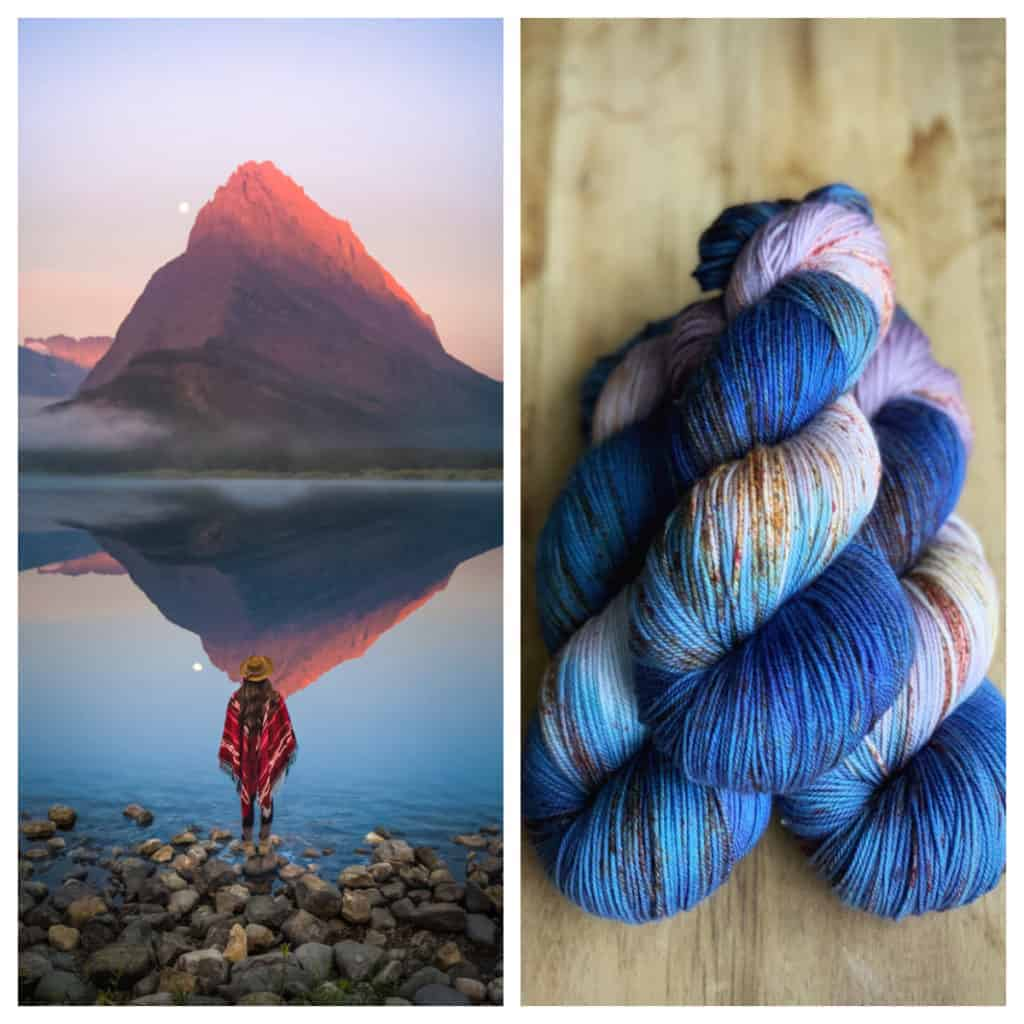 A collage with a mountain reflected in water and blue, purple and gold variegated yarn.