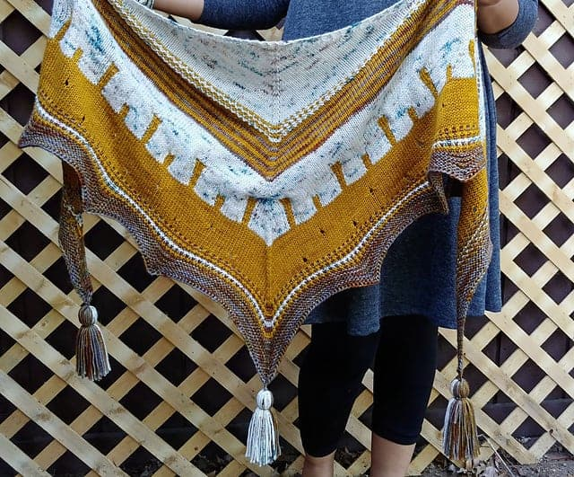 A multicolored triangular shawl