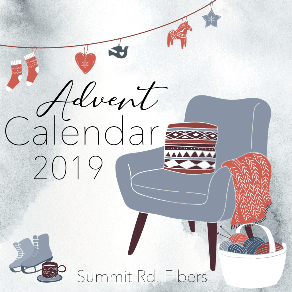 The illustration of an armchair with the words Advent Calendar 2019.
