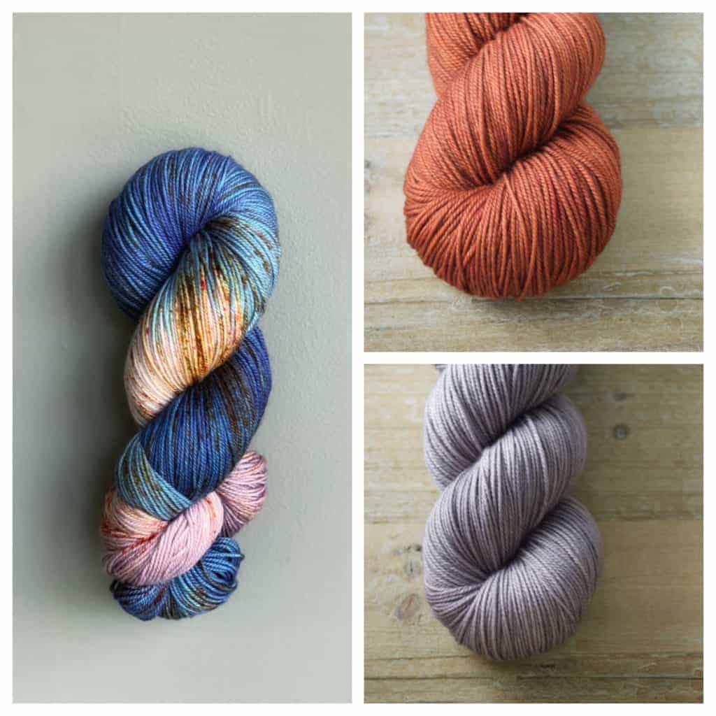 A collage of variegated yarn with complementary orange and purple.