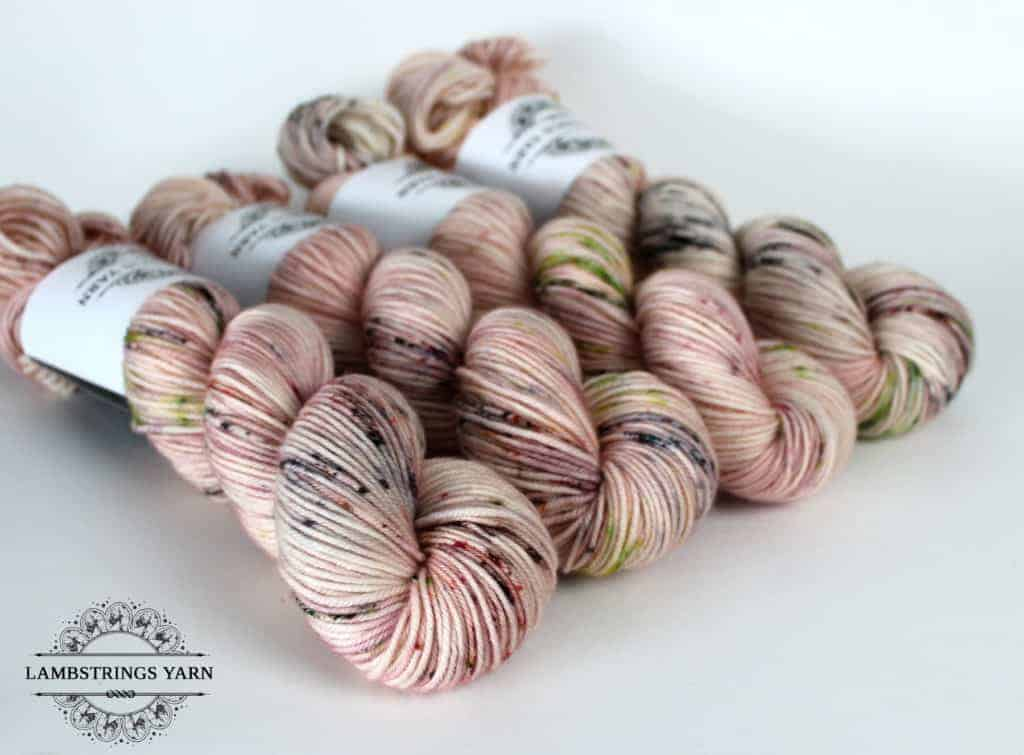Pink speckled yarn.