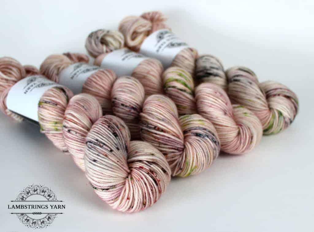 Pink speckled yarn.