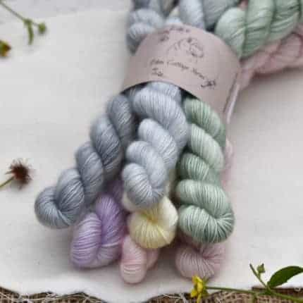 A set of pastel mini skeins.