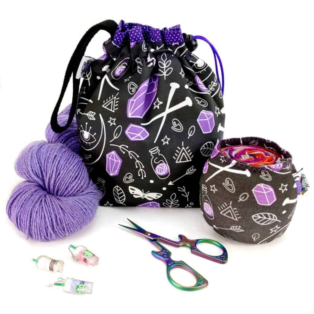 Bags with black and purple fabric