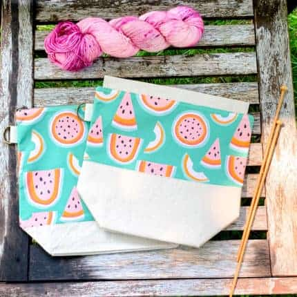 Two project bags with a watermelon print