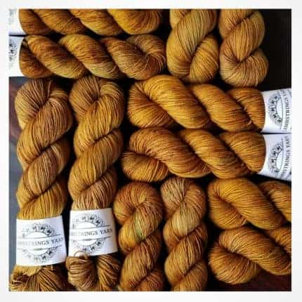 Skeins of golden yarn