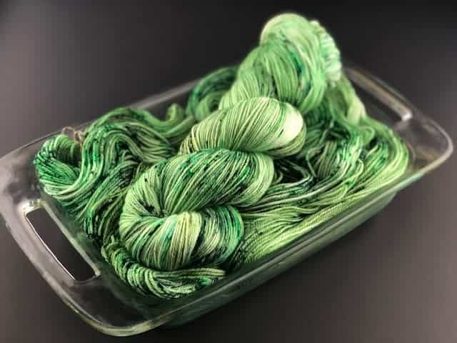A skein of green yarn