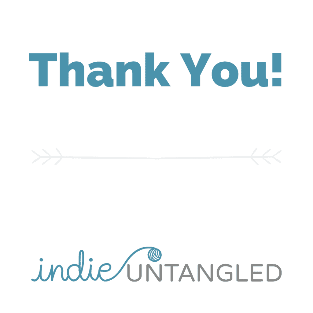 Thank you in teal and the Indie Untangled logo